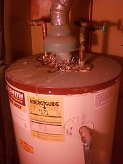 Rusty old water heater.