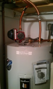 A water heater.