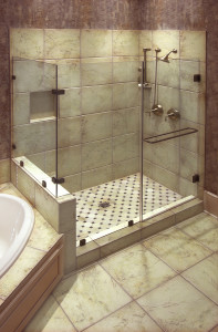 A beautiful large tile shower with brass fittings might be part of your kitchen and bathroom makeover.